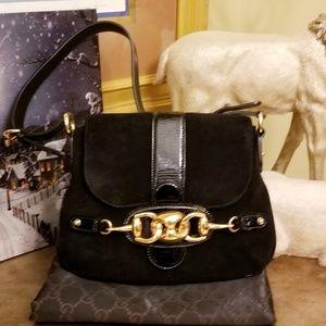 Part 1 Authentic Gucci Horsebit Black Suede Bag